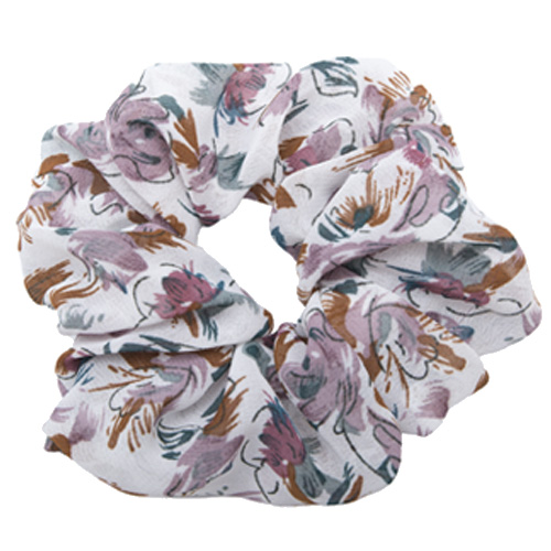 Hvid blomstret scrunchie chiffon