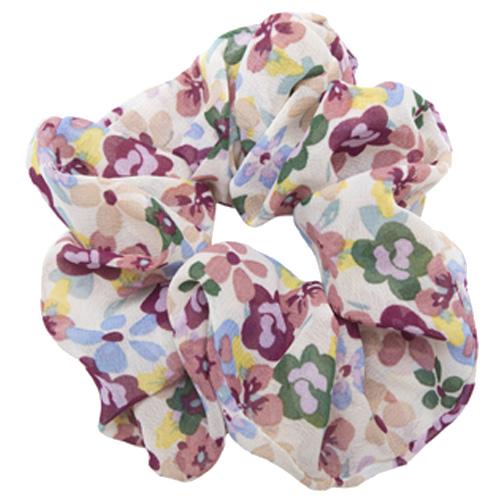Råhvid blomstret scrunchie chiffon