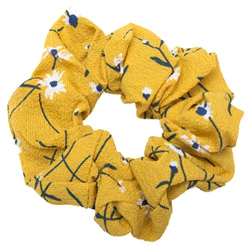 Gul crepe scrunchie med blomster