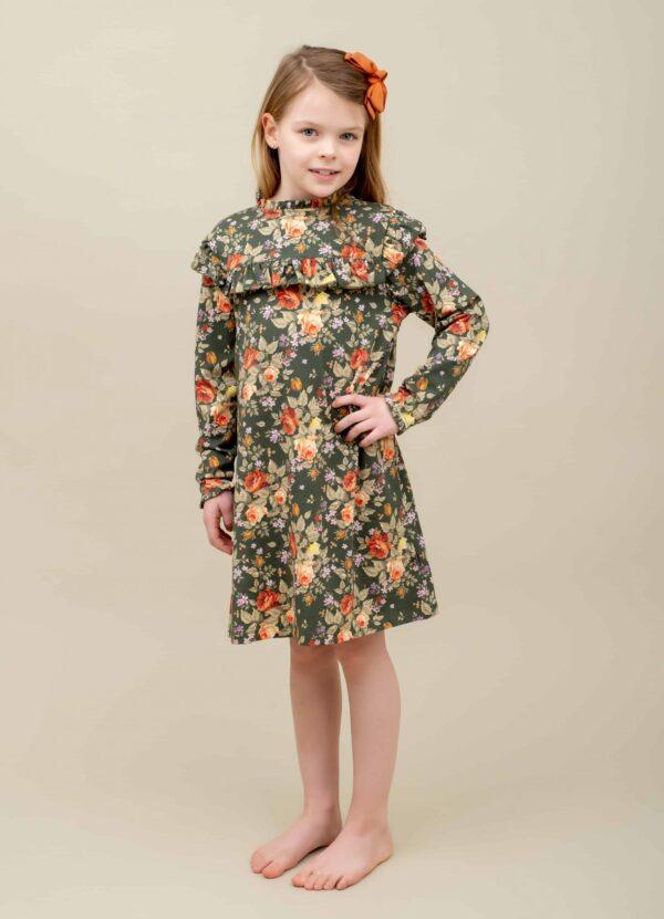 Green Autumn printet Evy kjole med flæser