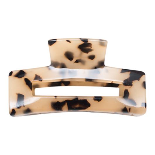 Firkantet hårklemme i leopard