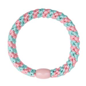 Mint og lyserød stribet hårelastik