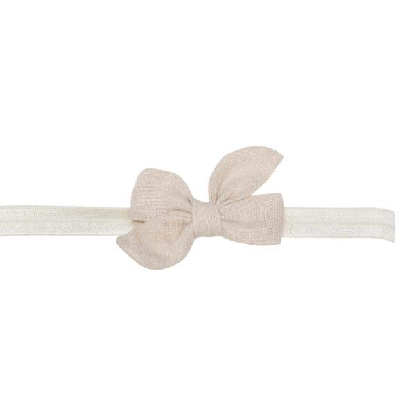 Elastik hårbånd med lille creme farvet Klara hør sløjfe