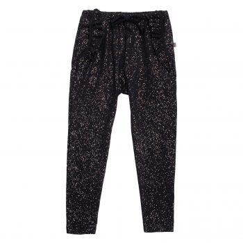 Saga Frill Pants i sort med glitter print