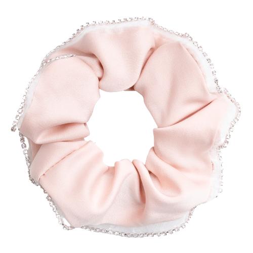 Scrunchie i satin med kant af glitter sten i sart rosa