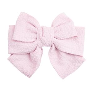 Kæmpe stor rosa sløjfe i krøl stof med stort klik spænde