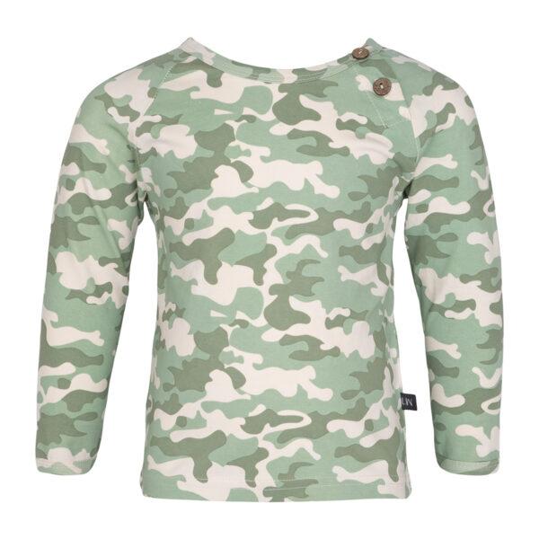 0105 Noah Camou   Noah bluse med albue lapper i green camou print