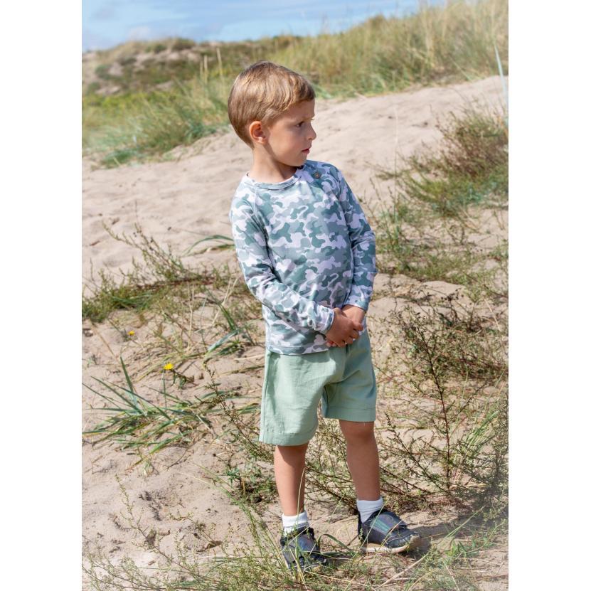 Storm Short Pants Noah Long slv T shirt 2 scaled   Noah bluse med albue lapper i green camou print