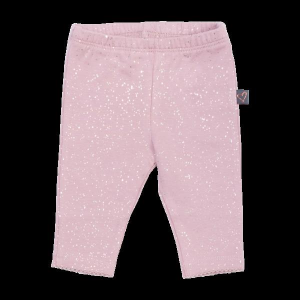 Erin Newborn Leggings i støvet rosa glitter