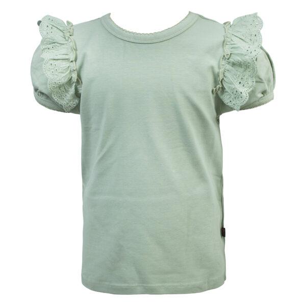 Jane20Tee Desert20Sage | Jane T-shirt med puff ærmer og blonde i desert sage