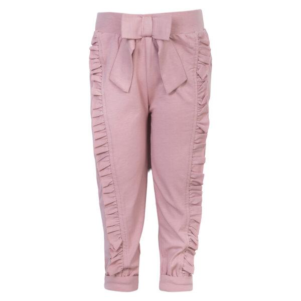 Mille Dusty20Rose   Mille bukser med sløjfe og flæser i støvet rose