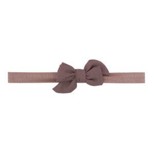 Elastik hårbånd med lille chokolade farvet Klara hør sløjfe
