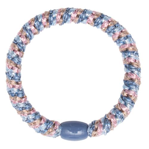405 Kelly blue light pink gold glitter | Kelly Blå/Brun/Pink/Glitter kraftigt hår elastik #405