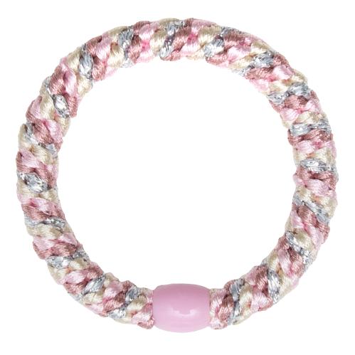410 Kelly rosa lyseroed soelv   Kelly Rosa/Sølv/Glitter kraftig hår elastik #410