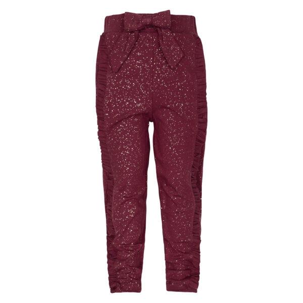 Mille20Burgundy   Burgundy / glitter Mille bukser med sløjfe og flæser
