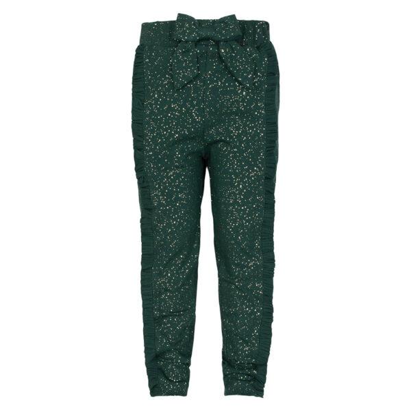 Mille20Opal20Green | Opal green / glitter Mille bukser med sløjfe og flæser