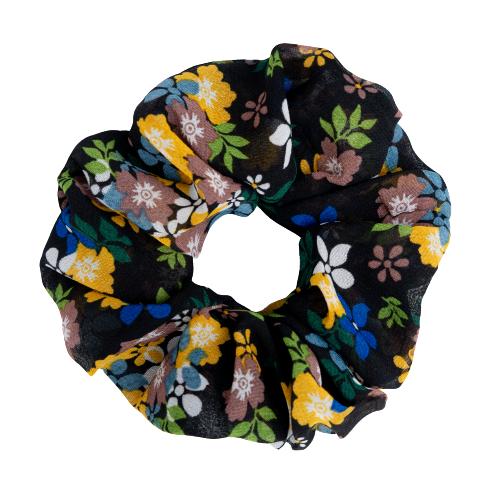 Scrunchie removebg preview201 | Sort/Blomstret Chiffon scrunchie - Str. One Size
