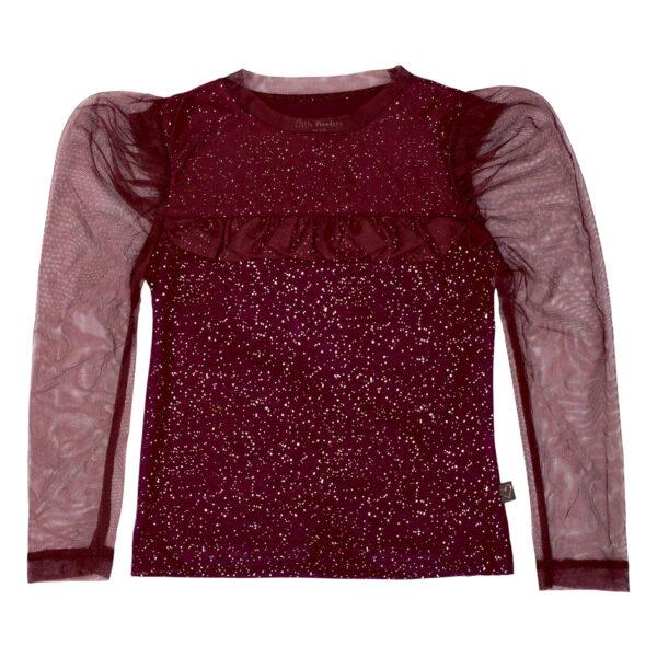 Zoe20Burgundy   Burgundy / glitter Zoe bluse med tutu flæse